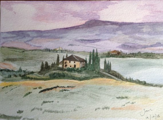 Watercolour painting of Tuscan landscape, villa and cypress trees