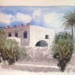 watercolour painting of Sicilian villa