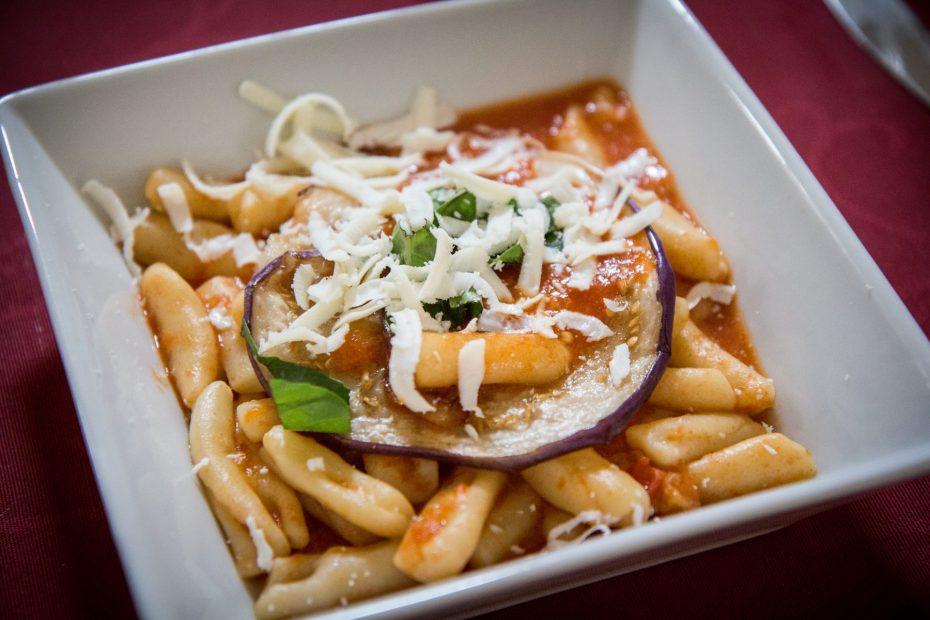 Pasta alla norma made with casarecce pasta