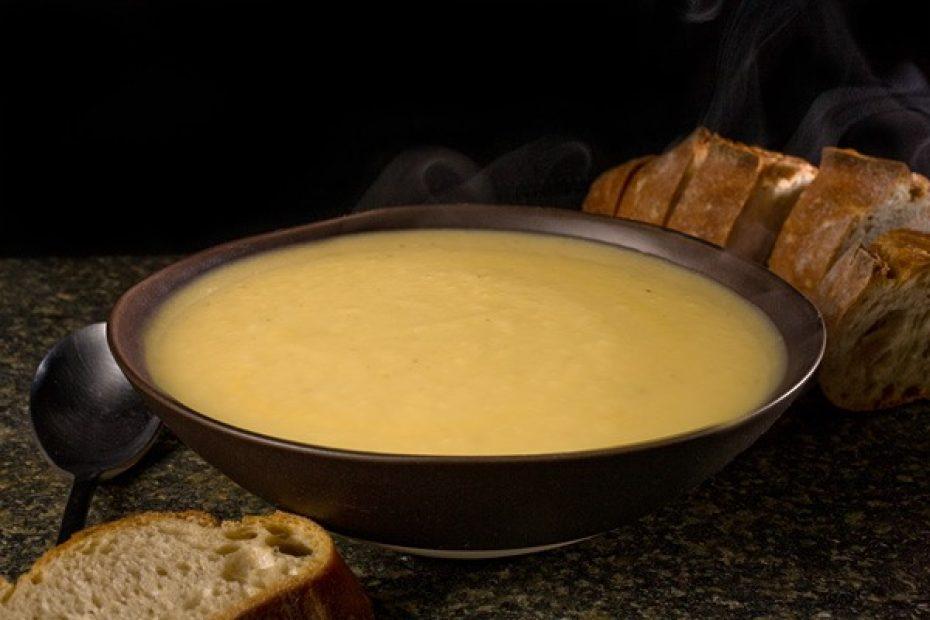celeriac soup served in bowl