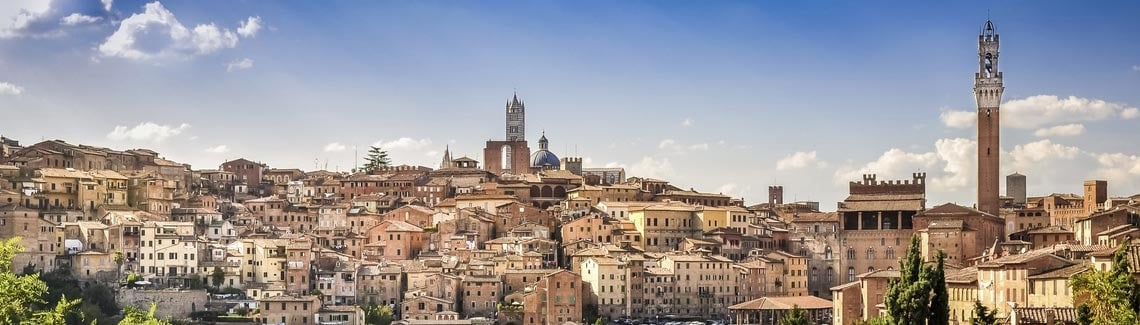 Shows a medieval Italian hilltop town