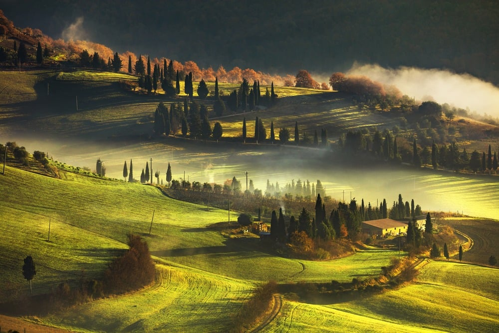 Shows green rolling hills of Tuscany