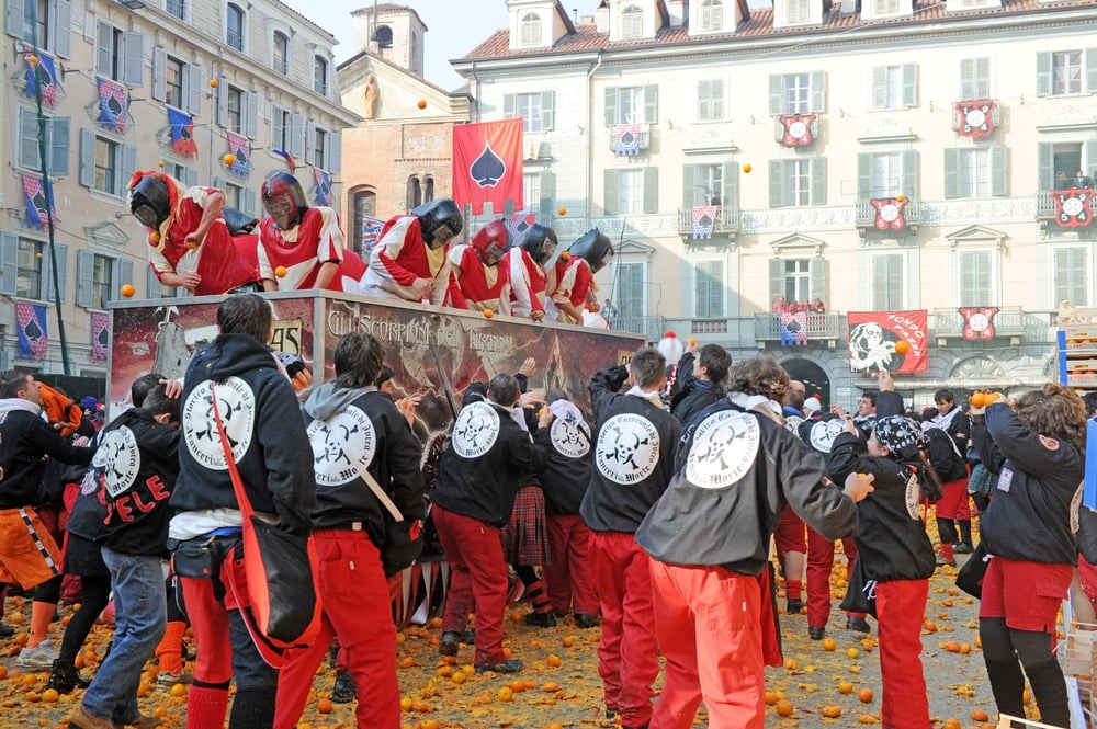 Participants during a orange throwing battle in the Italian town of Ivrea