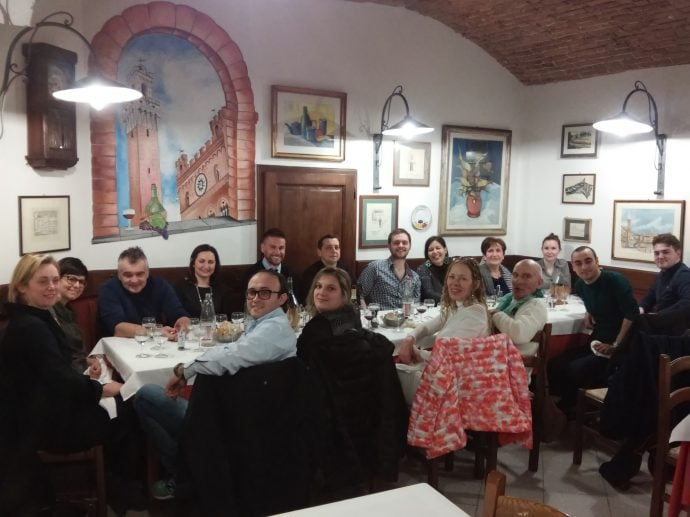 dinner in a traditional Italian trattoria in Siena