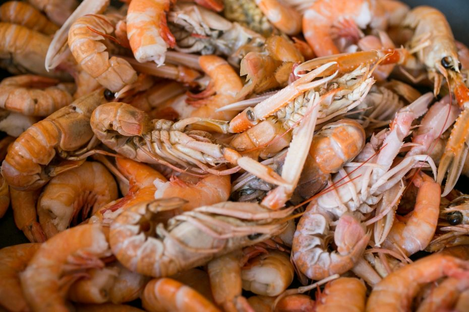 Whole prawns in shells at a market in Italy