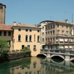 Treviso bridge and buildings