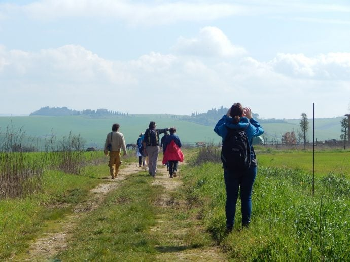 people walking along the Via Francigena in Italy