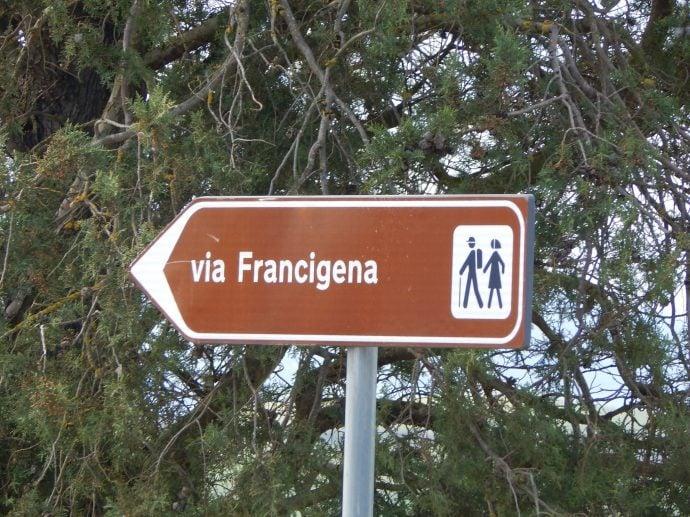 Shows road sign of the via Francigena