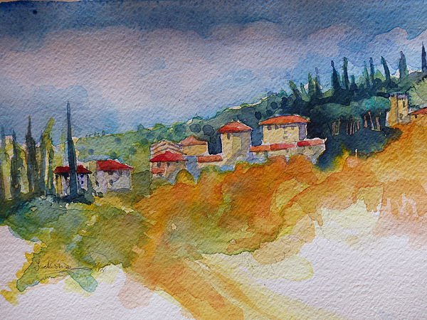 Watercolour painting of Varramista View