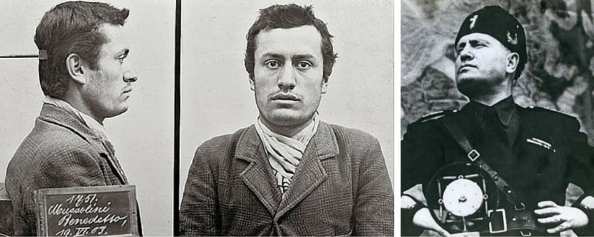 Benito Mussolini mugshot and in action