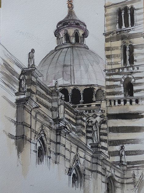 Drawing of the Duomo Sienna