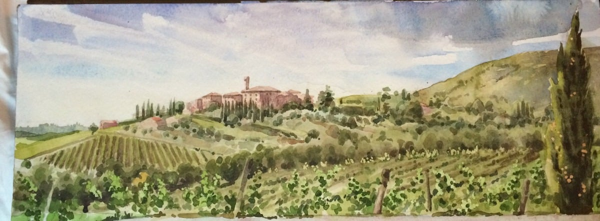 Watercolour Painting of Italian Landscape by Robert Nelmes