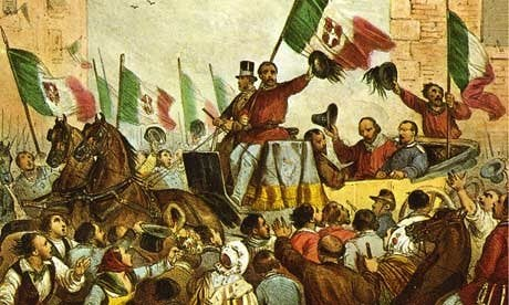 A painting of Giuseppe Garibaldi entering Naples on 7th September 1860