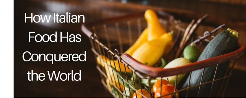Image of vegetables on basket with a title about Italian food