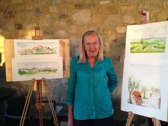 Flavours Holidays guest Vicky with paintings