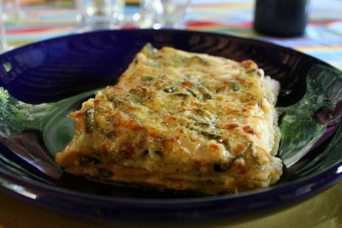 Lasagne with pesto and green beans