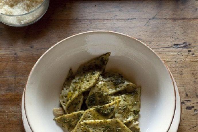 Testaroli with pesto dish from Tuscany