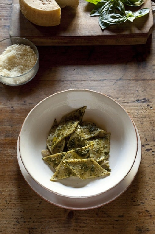 Testaroli with pesto dish from Tuscany