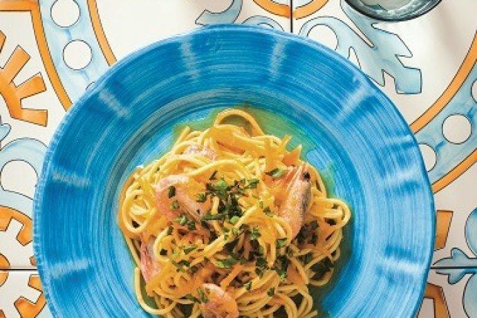Chitarra pasta with pumpkin and shrimp