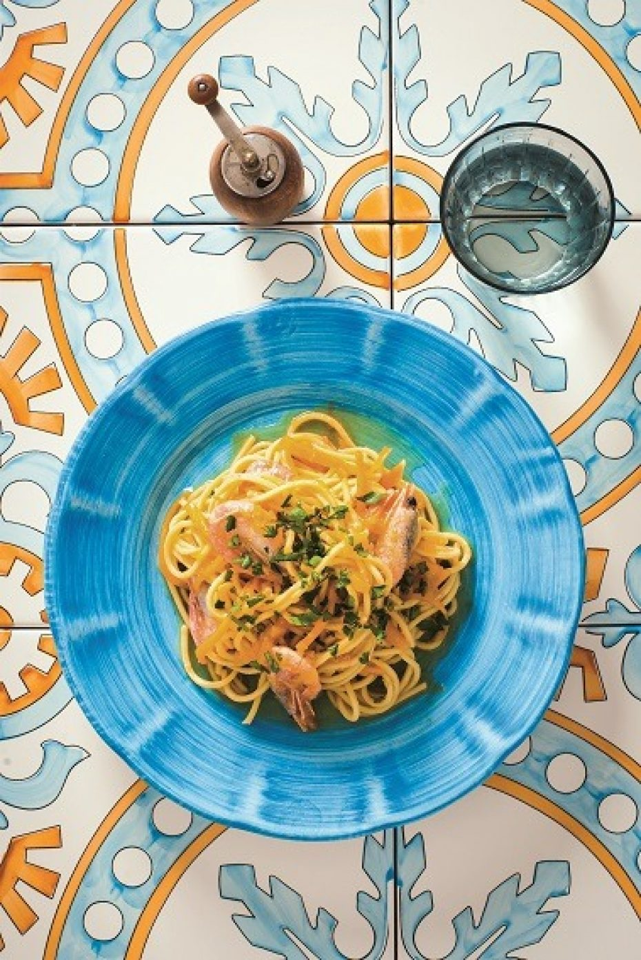 Chitarra pasta with pumpkin and shrimp