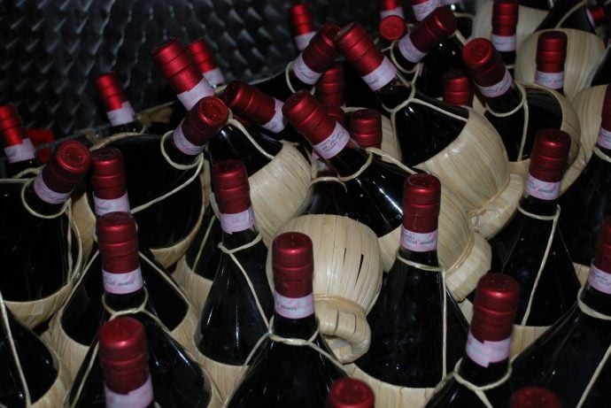 Bottles of Chianti wine