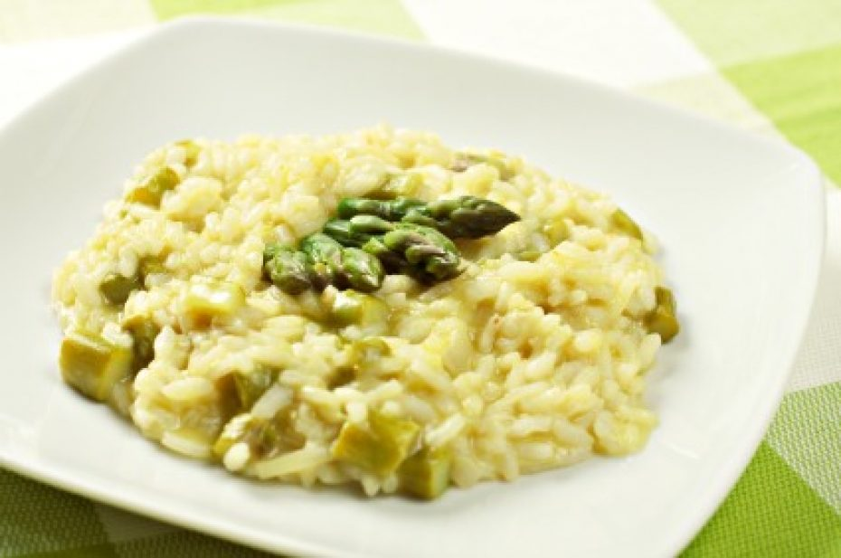 AAsparagus and prawn risotto