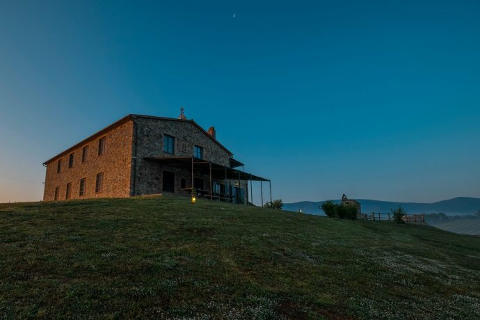 Isolated Italian house at dusk
