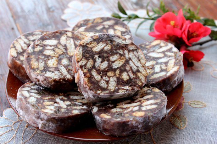 Chocolate salami on a plate