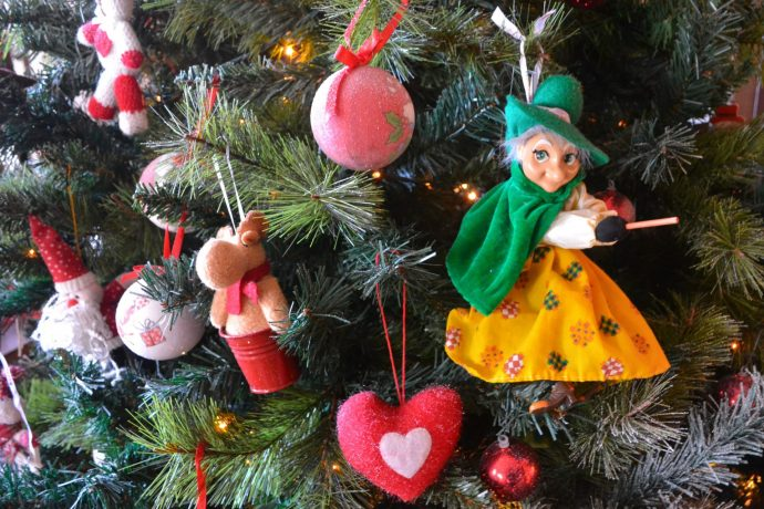 La Befana decoration on a Christmas tree