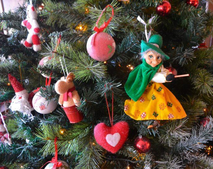 La Befana decoration on a Christmas tree
