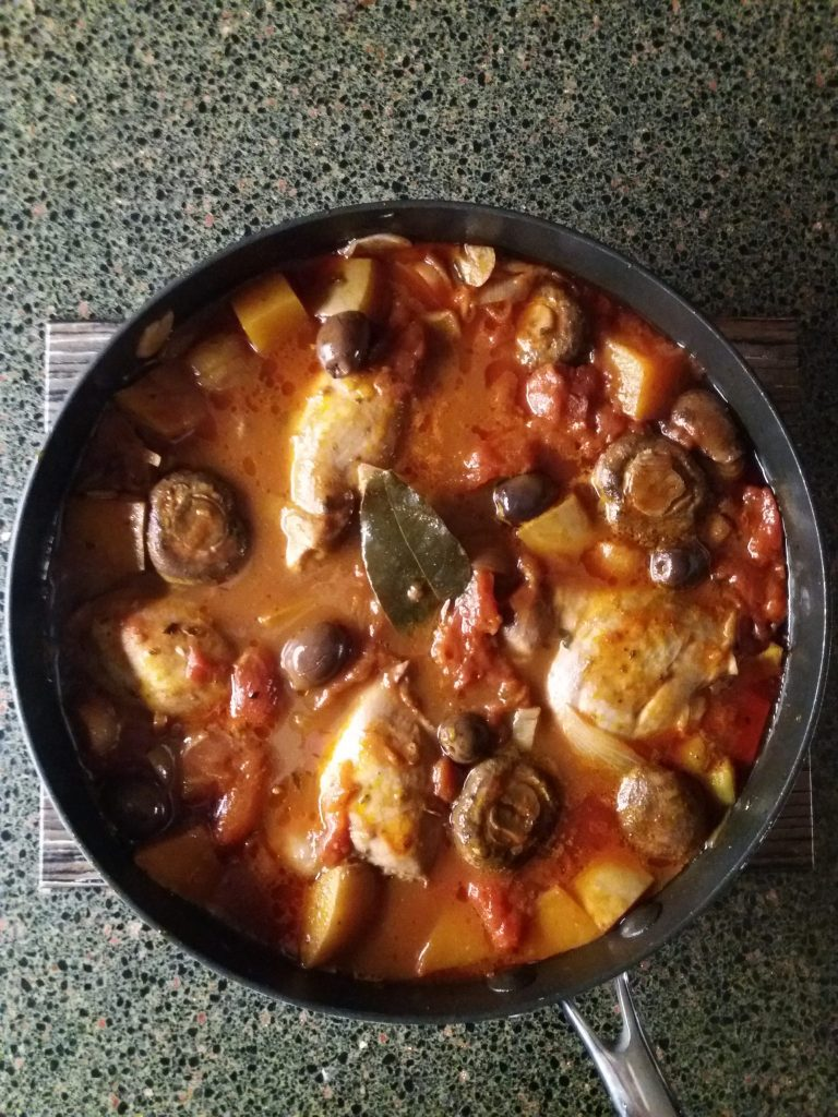 Chicken and Squash Cacciatore, Mushrooms, Tomatoes, Olives, Bread