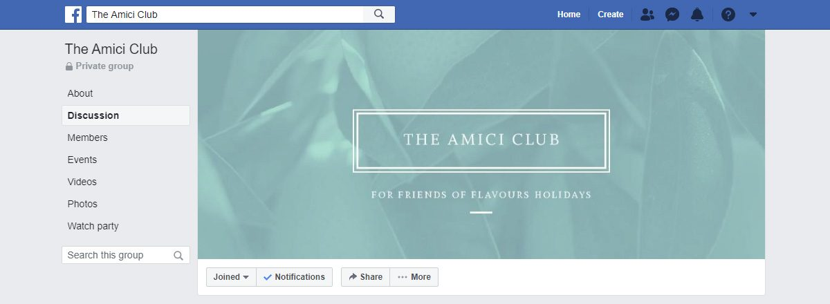 Amici Club on Facebook