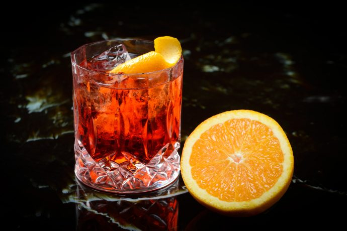 Negroni Cocktail with orange slice