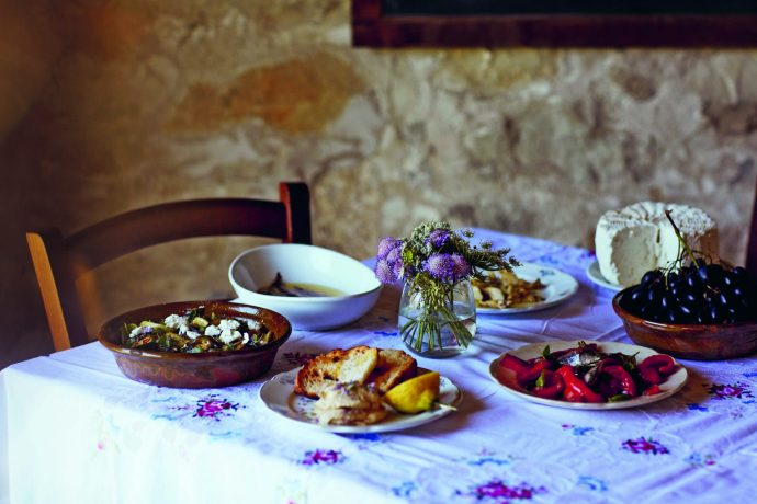 Multiple Sardinian dishes set out to serve on a table