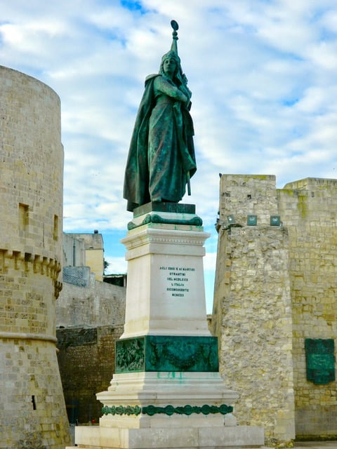 Historic female statue at the gate of Otranto in Puglia