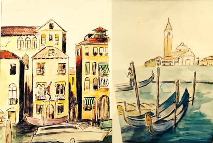 Paintings of Venice buildings and gondola