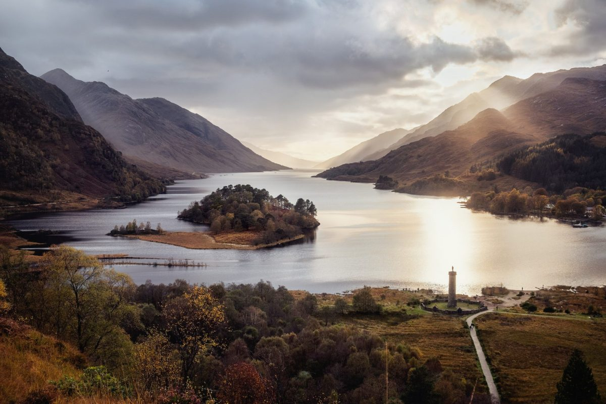 Sunset view of Glenfinnan Monument at Loch Shiel