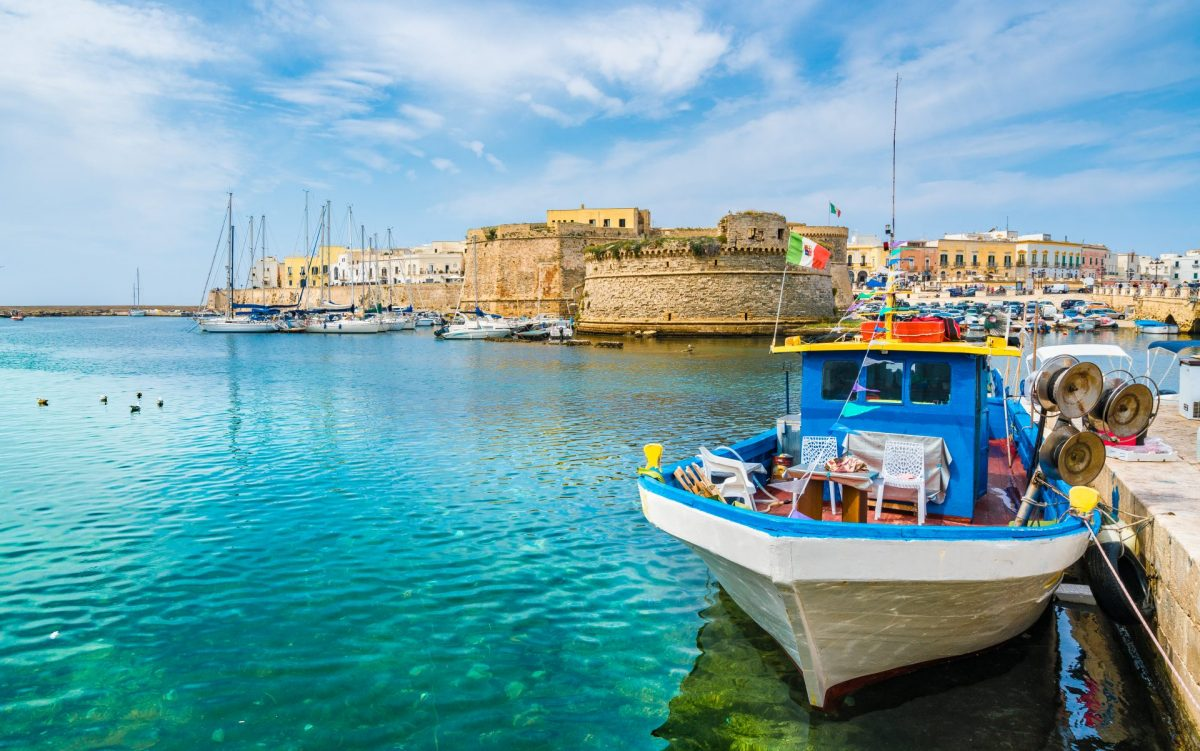 View of Gallipoli old town and harbour in Puglia