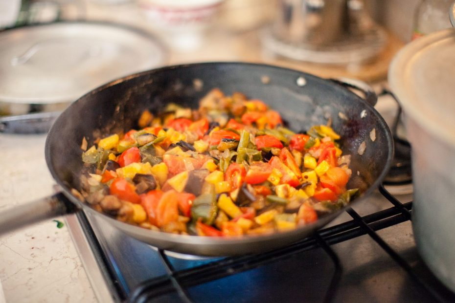 Caponata in a frying pan
