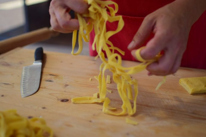 Close up of fresh pasta being made