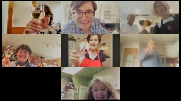 Cooking class on Zoom with glass of wine