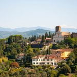 Beautiful view of San Miniato al Monte from Forte Belvedere in Florence, Tuscany, Italy