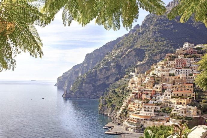View of the Amalfi Coast and sea