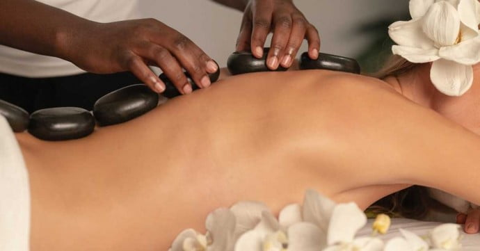 relaxing spa stone therapy