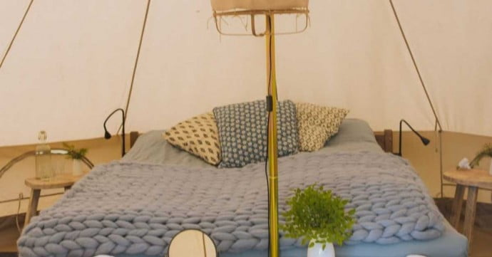 camping in cosy tent