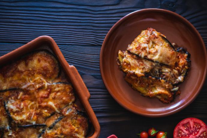 Aubergine Parmigiana on a plate