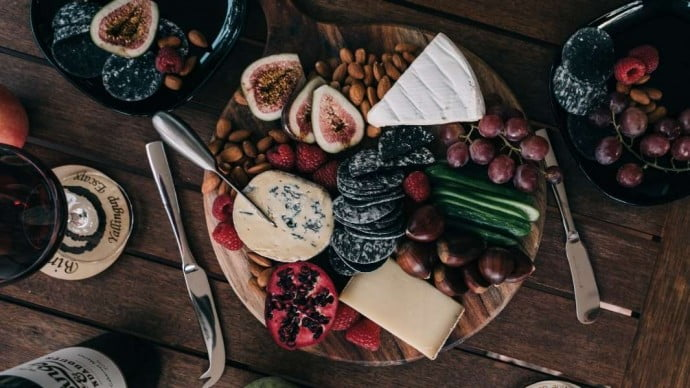 Cheese platter with wine