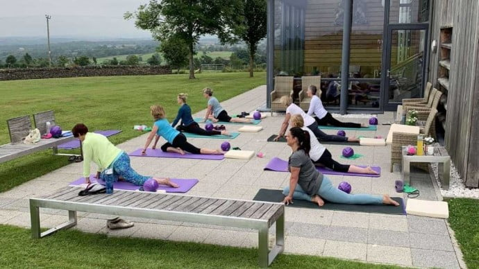 UK staycation - doing Pilates on the Banks of Loch Lomond