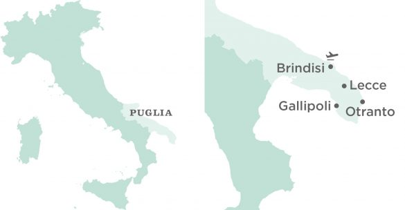 Flavours Holidays Puglia Region, Villa and Airport Map