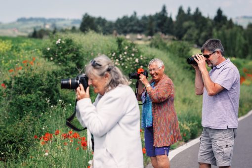 Flavours Holidays guests taking photographs in Tuscany